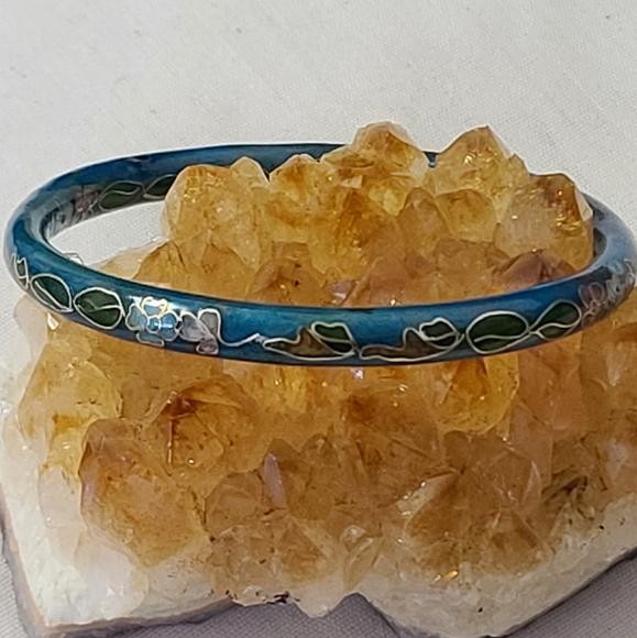 *Vintage Teal Flower Cloissone Bracelet